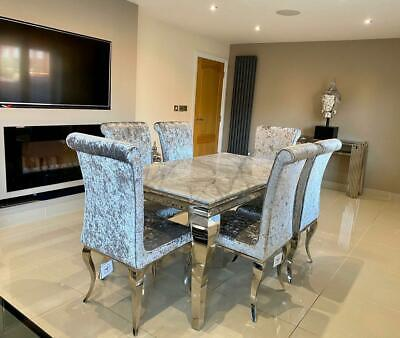 £1256.66 • Buy Louis Grey Marble Dining Table Chrome Legs Lucy Silver Crushed Velvet Chairs