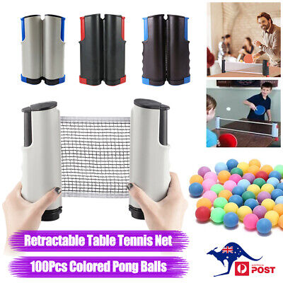 AU16.47 • Buy Retractable Table Tennis Net Rack + 100x Colored Ping Pong Balls Games Sports