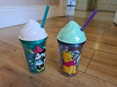 £9.50 • Buy Disney Store 2x Ice Cream Cone Cup Tumbler W/ Straw Minnie Mouse Winnie The Pooh