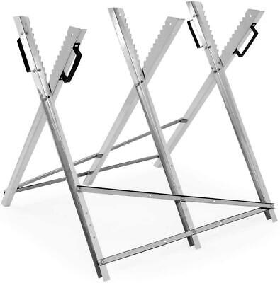 £24.99 • Buy Folding Chain Saw Horse Log Holder Sawing Cutting Stand Galvanized Metal Trestle