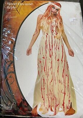 £8.99 • Buy Blood Covered Bride Costume ~ Ladies Halloween Fancy Dress  Zombie Carrie NEW A2