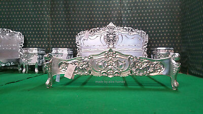 £1999 • Buy UK Super King Size 6' SILVER LEAF Hand Carved Mahogany Solid Wood Rococo Bed