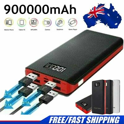AU6.88 • Buy 900000mAh Power Bank 4USB Portable Battery Pack Fast Charging Charger For Phone