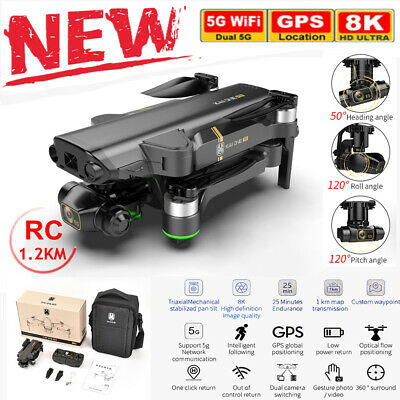AU318.14 • Buy 8K 5G Wifi Drone GPS Professional HD Dual Camera 3-Axis Brushless RC Quadcopter