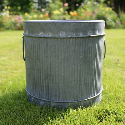 £21.95 • Buy Vintage Style Metal Garden Planter Round Rustic Plant Pot Galvanised Container