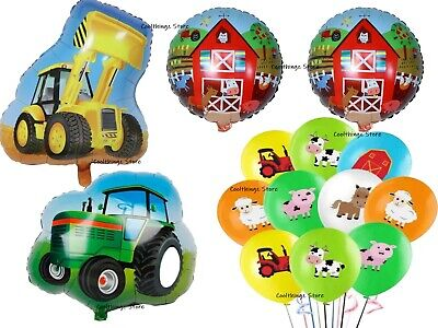 AU16.97 • Buy TRACTOR & FARM 14 Piece Balloon Set For Birthday Party FOIL HELIUM Digger Latex