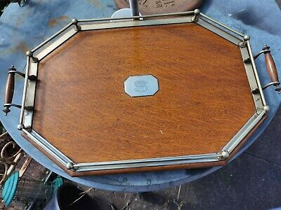 £120 • Buy Antique English Oak & Brass Gallery Tray. Large Cocktail Drinks Circa 1900