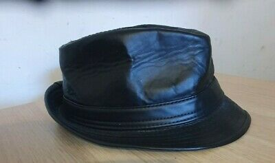 £8.25 • Buy Black Faux Leather PVC Trilby Hat. 22.5 Inches Round Head. Madness, Ska, Mod