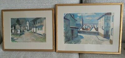 £25 • Buy Two 1940s Framed Prints French Town/country Scenes, Signed Gepiner, Gold Frames