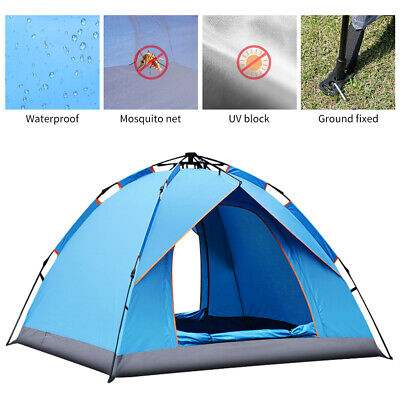 £28.90 • Buy Pop Up Tent Automatic 3-4 Man Person Family Tent Camping Festival Shelter Beach