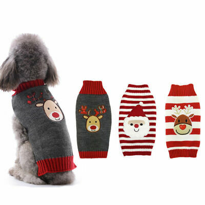 £6.54 • Buy Dog Christmas Knitted Coat Pet Jumper Apparel Xmas Sweater For Small Large Dog
