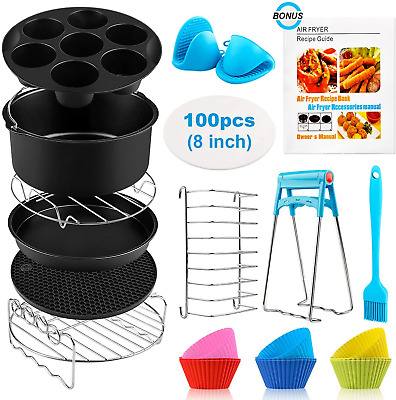 AU57.39 • Buy Air Fryer Accessories XL, 8 Inch Set Of 17 For Gowise USA Phillips Ninjia Cosori