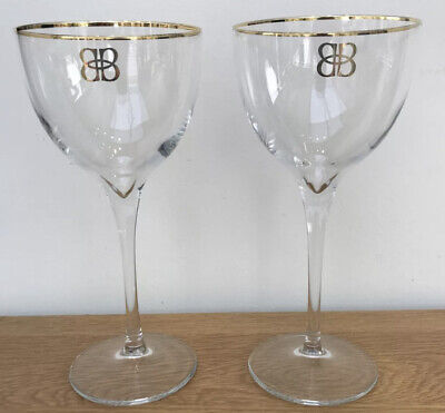 £8.99 • Buy Pair Of Baileys Liqueur Tall Stem Balloon Deluxe With Gold Rims & Logo Glasses