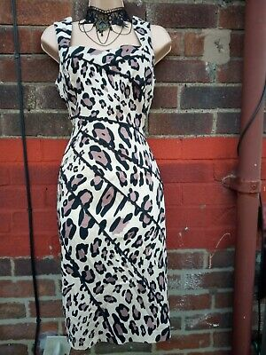 £19.99 • Buy  Leopard Print Pencil Wiggle Bodycon Dress Size 12 Lace Hugging Evening Party