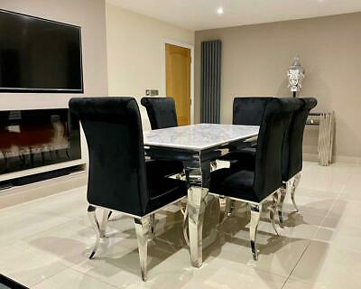 £385.95 • Buy Louis White Marble Dining Table Set Chrome Legs Lucy Black Brushed Velvet Chairs