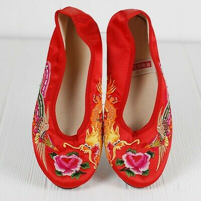 £14.52 • Buy Chinese Red Slip On Women's Shoes Size 8 Dragon Embroidery