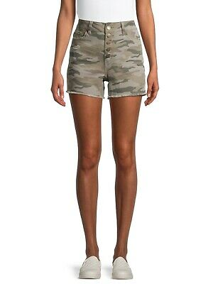 £14.48 • Buy Time And Tru High Rise 5 Button Denim Shorts Size 8 Green Camo Frayed Hem New