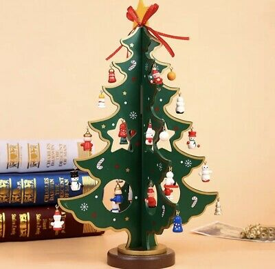 £9.99 • Buy Wooden Table Top Christmas Tree With Hanging Decorations Approx 26cm Tall