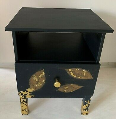 £50 • Buy Black Pine Bedside Table Night Stand 1 Drawer Gold Gilded Size 48W X 39D X 62H