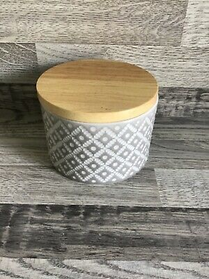 £10 • Buy Next Geo Small Grey Storage Jar Kitchen Canister With Wooden Lid