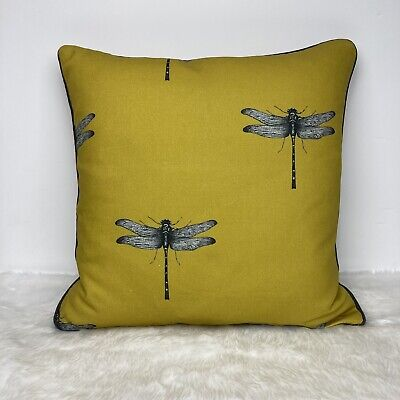 """£15 • Buy Clarke And Clarke Azure Dragonfly Ochre Cushion Cover 18""""x18"""" Piped"""