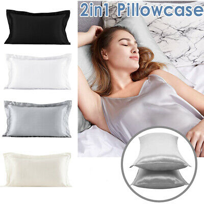 AU8.88 • Buy 2 Pack Satin Silk Pillow Cases Pillow Covers Soft Home Bedroom Pillowcase Decor