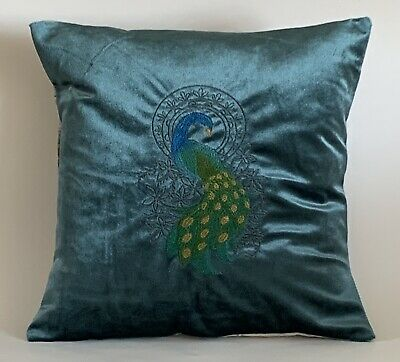 """£13.50 • Buy Peacock Embroidered Cushion Cover 14""""x14"""""""