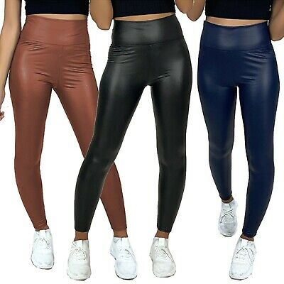 £8.99 • Buy Ladies Thick Pu Wet Look High Waist Leggings Women Faux Leather Stretch Fit Pant
