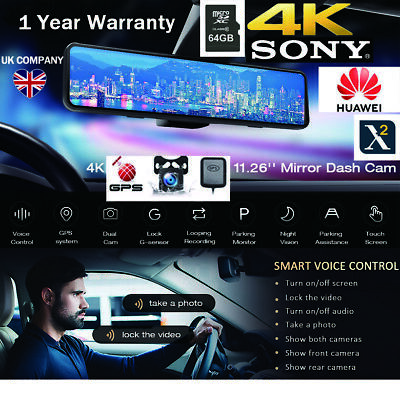 AU235.38 • Buy NEW 12'' SONY 4K GPS Mirror Car Dash Cam Touch Screen Dual Front And Rear Camera