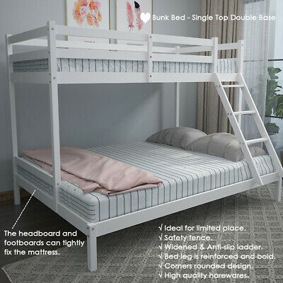 £164.90 • Buy Triple Bunk Bed 3FT Single & 4FT6 Double Bed Frame With Stair Solid Wooden Pine