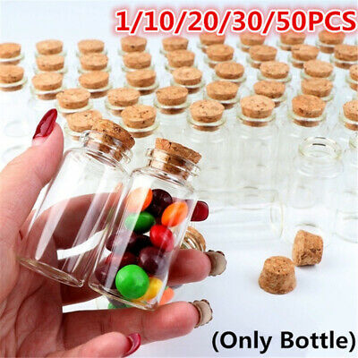 £3.59 • Buy 50Pcs Clear Glass Bottles With Cork Stoppers Mini Small Jars Vials Wedding Favor