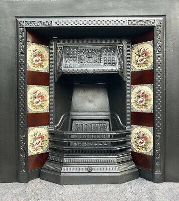 £310 • Buy Cast Iron Tiled Fireplace / Fire Surround / Insert / Victorian Style Solid Fuel