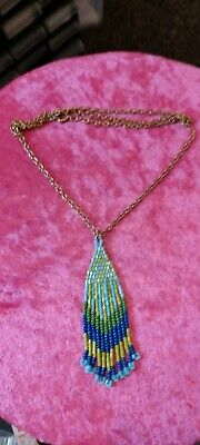 £8 • Buy Native American Hand Beaded Blue Green Glass Tassel Necklace