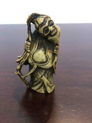 £203.03 • Buy Netsuke Japanese Antique Old Man Deer Horn Edo Period Carving Collection 2