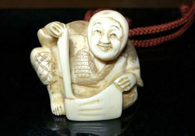 £297.59 • Buy Netsuke Japanese Antique Old Man Edo Period Deer Horn Carving Collection
