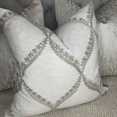 """£10 • Buy 16"""" Cushion Cover John Lewis & Partners Fabric Embroidery Design Neutral Decor"""