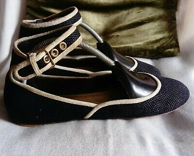 £10.50 • Buy MIU MIU B/W Size 37/UK 4 Flats Ankle Strap Leather/Textile Uppers Made In Italy