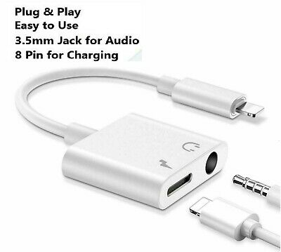 £4.99 • Buy Dual 2 In 1 Headphone Audio Charger Splitter Adapter For IPhone 7 8 X 11 12 Pro