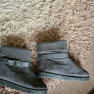 £5.50 • Buy Womens Voi Jeans Charlestown Suede Ankle Boots In Charcoal Size 6 Veg00513 Qr Cd