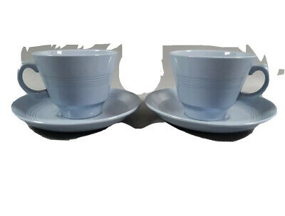 £12.99 • Buy 2 X Woods Ware Iris Blue Tea Cups With Saucers Utility Ware 40s 50s WW2
