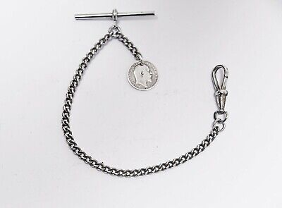 £16 • Buy Vintage Albert Pocket Watch Chain + 1910 Silver Coin Fob