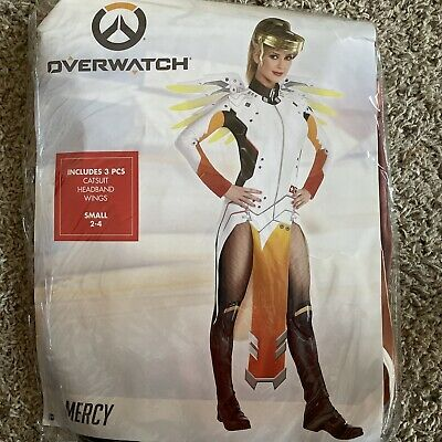 AU53.54 • Buy Overwatch Mercy Costume Catsuit Gold Halo Headband & Wings Size Small 2-4 - NWT!