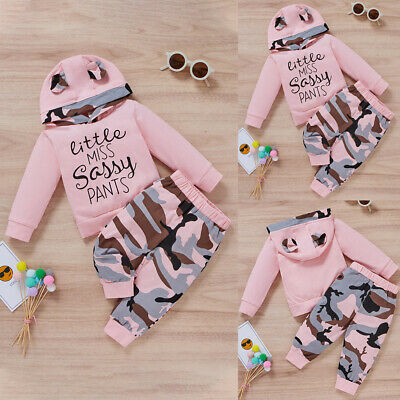£10.59 • Buy Newborn Baby Girls Tracksuit Letter Hooded Tops Camo Pants Outfits Clothes Set