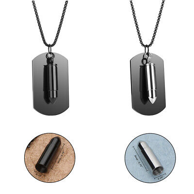 £9.99 • Buy Stainless Steel Military Bullet Dog Tag Pendant Memory Ashes Cremation Necklace