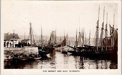AU13.19 • Buy Postcard Plymouth Devon Sailing Boats Fish Market And Quay Fishing Industry RP