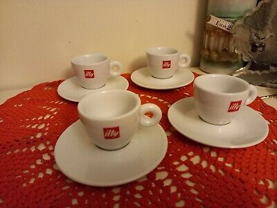 £25 • Buy 4 X Illy Logo Coffee Cups & Saucers Set Cappuccino Espresso