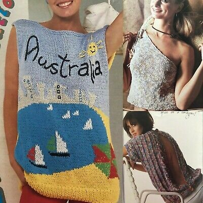 £2.65 • Buy 1980s Summer Ken Done Ons Shoulder Backless Graphics Patons 756 Knitting Pattern