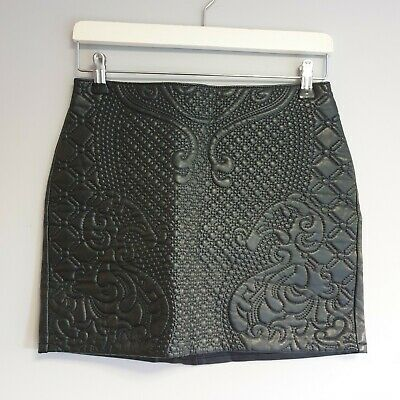 £8 • Buy H&M Women Size 10 Black Faux Leather Textured Mini Skirt Smart Casual Party Boho