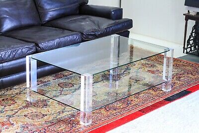 £849.99 • Buy Porta Romana Glass & Lucite Luxury Coffee Table Designed By Andrew & Sarah Hills