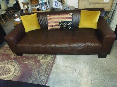 £265 • Buy John Lewis Brown Leather Sofa Quality Settee Deliv Poss Others Also